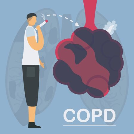 Smoking is cause of chronic obstructive pulmonary disease or COPD. Lung have breathing problems and poor airflow. Vector illustration in flat design. Çizim