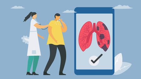 New technology for lung diagnostic on smartphone. Chronic obstructive pulmonary disease causes breathing problems and poor airflow. Pulmonology vector illustration.