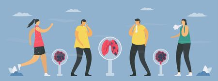 COPD symptoms include tired, cough, sputum, wheezing. Lung have breathing problems and poor airflow. Pulmonology vector illustration.