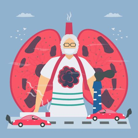 Air pollution and smoking are cause of chronic obstructive pulmonary disease or COPD. Lung have breathing problems and poor airflow. Vector illustration in flat design.