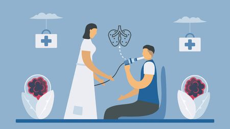 Spirometry is a test used to measure lung function. Chronic obstructive pulmonary disease causes breathing problems and poor airflow. Pulmonology vector illustration.