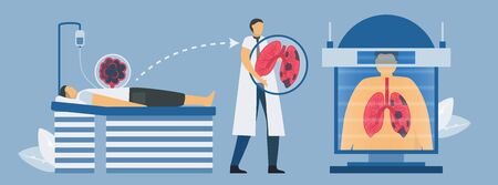 CT scanning systems for chronic obstructive pulmonary disease testing. Pulmonology vector illustration.