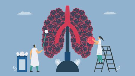 Chronic obstructive pulmonary disease or COPD. Give the new alveoli. Lung have breathing problems and poor airflow. Vector illustration in flat design.