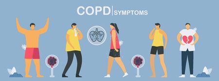 Main process of COPD symptoms starts from strong, sputum, tired, cough until heart attack. Lung have breathing problems and poor airflow. Pulmonology vector illustration.