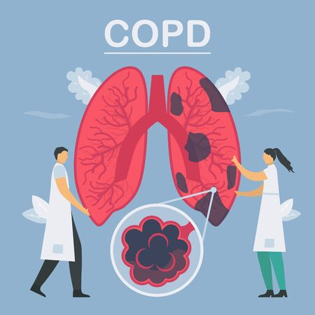 Chronic obstructive pulmonary disease or COPD. Lung have breathing problems and poor airflow. Vector illustration in flat design.