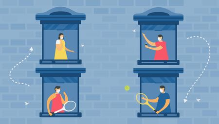 Social distancing for protection new coronavirus or COVID-19. They talk at window of thier house. Vector illustration is in flat style. Work from home. Çizim