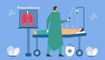 Pneumothorax is happened when air leaks into space between chest wall and lung. Pulmonology vector illustration about restrictive lung disease.