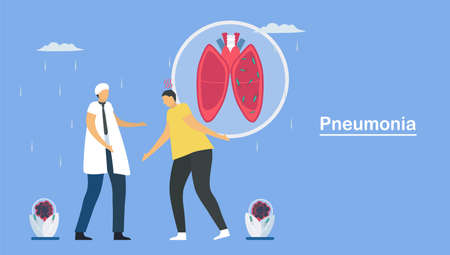 Pneumonia is infection that inflames air sacs in one or both lungs. This symptom is caused by bacteria, viruses and fungi. Pulmonology vector illustration about restrictive lung disease.