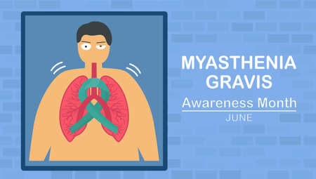Myasthenia gravis is neuromuscular disease that leads to make muscle weakness. These include eyes, face, and swallowing. Pulmonology vector illustration about restrictive lung disease. Çizim