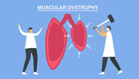 Muscular dystrophy is diseases that cause weakness and loss of muscle mass. Pulmonology vector illustration about restrictive lung disease. Çizim