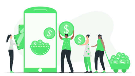 People deposit money to e-wallent or digital wallet. This can be kept in form smartphone applications to purchase something at store. Minimal green monochromatic color design in e-payment concept. Vektoros illusztráció