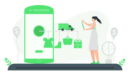 Woman uses online stores to buy equipment and accessories. Fast, on time delivery. Minimal green monochromatic color design. E-payment illustration design concept.