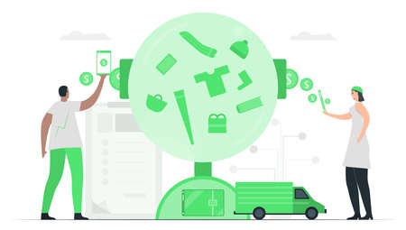 People deposits money to e-wallent or digital wallet. They can purchase something at stores. Then, delivery car will send items to you. Minimal green monochromatic color design in e-payment concept.
