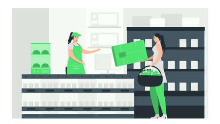 For purchase something, woman use credit card to pay money in super market. Minimal green monochromatic color design in e-payment concept. Vectores