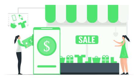Woman pays money to buy items in e-payment application. They only choose accessories on online shops, then they will get them. This minimal illustrator was designed by using green tone color.