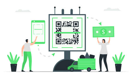 A man pays money to woman seller by QR code scanning. Then, delivery car will send items back to him. Minimal green monochromatic color design in e-payment concept.
