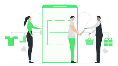 People pay money to buy items in e-payment application. They can choose everything and buy them by smartphone. This minimal illustrator was designed by using green tone color.