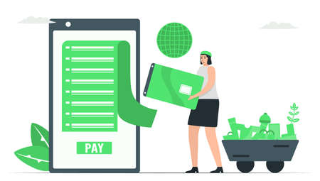 For purchase something, people use credit card to pay money around the world. Payment with internet banking. Minimal green monochromatic color design in e-payment concept.