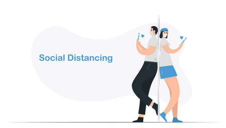Social distancing of couple of love. They have to contact with phone call. So near but so far. Isolated vector is in cozy flat style. Minimal design is in blue monochromatic color.