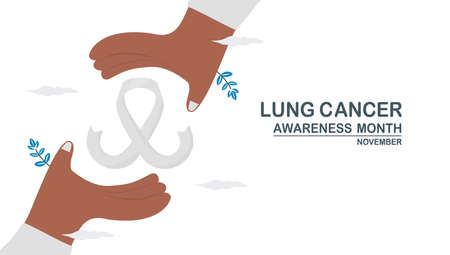 Lung cancer awareness month, November. White ribbon is among hands. This graphic for banner, poster, background and advertisments. Flat vector illustration isolated on white background.