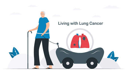 Lung cancer awareness month, November. People lives with lung cancer. This graphic for banner, poster, background and advertisments. Flat vector illustration isolated on white background. Vectores