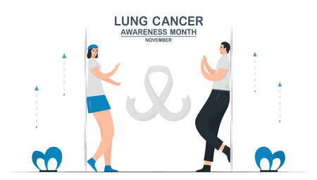Lung cancer awareness month, November. Community about lung cancer. This graphic for banner, poster, background and advertisments. Flat vector illustration isolated on white background.