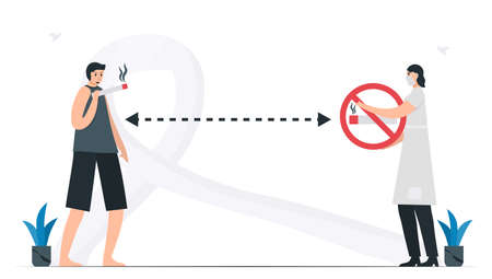 Woman keeps distance from person that smokes. Knowledge about Lung cancer awareness month, November. Flat vector illustration isolated on white background.