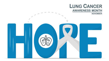 Lung cancer awareness month, November. White ribbon is sign of this disease. This graphic for banner, poster, background and advertisments. Calligraphy texts mean HOPE. Vectores