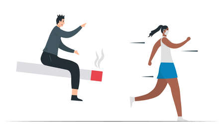 The woman is running from the smoking man. This illustration is designed in concept of passive smoking. Lung cancer awareness month, November. Flat vector illustration isolated on white background.