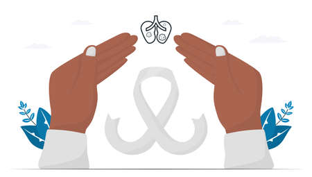 Lung cancer awareness month, November. White ribbon is sign of this disease. This graphic for banner, poster, background and advertisments. Flat vector illustration isolated on white background. Vectores