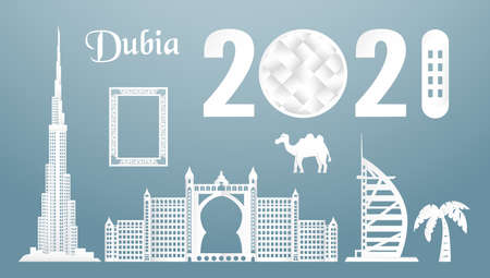 November 19, 2021: Sets of top famous landmark of Dubai country for travel and tour. Vector illustration design in paper cut and craft style on blue background. Vectores