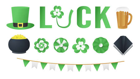 Elements for St. Patrick's Day. Vector illustration is designed in 3D paper cut and craft style.