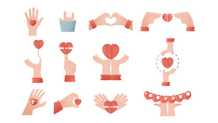 Hands is designed in concept of love. Paper cut elements illustration isolated on white background. Foto de archivo