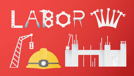 Decoration elements of Labor day for banner, poster, cover, advertisement, website. Vector illustration in paper cut and craft style on red background.