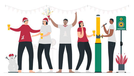Boss and employees are celebrating Christmas day together in the office. They are singing and dancing. 25 december. Vector illustration in flat style.