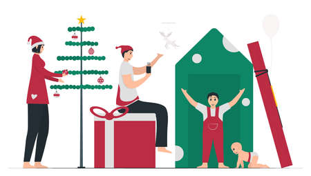 The family celebrate Christmas day together at house. 25 december. Vector illustration in flat style.