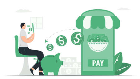 The business man shops online items. And also, he will get cash back to piggy bank after purchase. Payment method with digital money. This infographic banner was designed by using vintage green color.