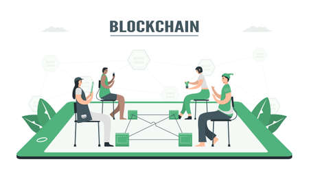 People use blockchain to make database together. This technology can keep secret of datas. E-payment concept. This infographic banner was designed by using vintage green color. Vector Illustratie