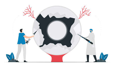 Medical and surgical treatments for glaucoma disease. Illustrated vector isolates on white background. Doctor and giant eye.