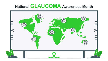 Template background for National Glaucoma Awareness Month. Eye disease is around the world. Illustrated vector isolates on white background.