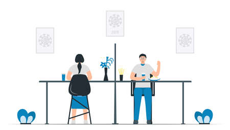 Social distancing in canteen. Plastic divider screen will be put between desks. Protection for coronavirus outbreak. Vector illustration designs in flat style.