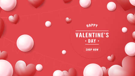 Banner background for Valentine's day. Text space is on right side. Vector illustration is in paper cut style.