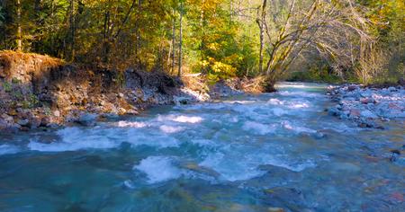 Beautiful Washington Autumn Nature Scenery - twin lakes road campground. Stock Photo