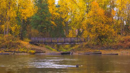 Beautiful Washington Autumn Nature Scenery - Waterfront Park, Leavenworth.