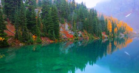 Beautiful Washington Autumn Nature Scenery - Blue Lake Trail. Stock Photo