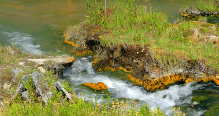 Stock image of Boiling River, Yellowstone National Park, USA. 版權商用圖片