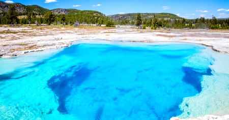 Stock image of West Thumb Geyser Basin, Yellowstone National Park, USA.
