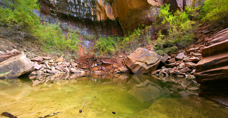 Amazing view of Emerald Pools Trail, Zion National Park, Utah. Stock fotó - 124968172
