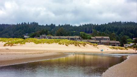 Pacific Northwest Coast, USA - the winding US route 101 along the misty Oregon coastline near Yachats. Stock fotó