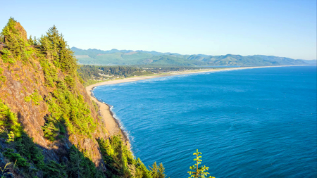 Pacific Northwest Coast, USA - the winding US route 101 along the misty Oregon coastline near Yachats. Stok Fotoğraf